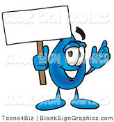 Illustration of a Happy Water Drop Holding a Blank Sign and Waving by Toons4Biz