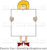 Illustration of a Happy Woman Holding a Blank Sign over Her Body by Djart