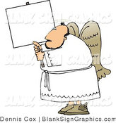 Illustration of a Heavenly Angel Holding a Blank Sign by Djart