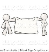 Illustration of a Man and Woman Holding a Blank Sign Banner by Leo Blanchette