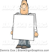 Illustration of a Man Wearing Blank Signs by Djart