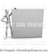 Illustration of a Mannequin Holding up a Blank Sign by KJ Pargeter