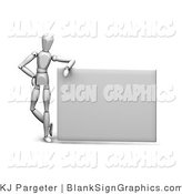 Illustration of a Mannequin Leaning on a Blank Sign by KJ Pargeter