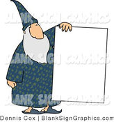 Illustration of a Old Wizard Holding a Blank Sign by Djart