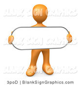 Illustration of a Orange Person Holding a Blank Oval Sign by 3poD