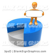 Illustration of a Orange Person Standing on Top of a Pie Chart and Holding a Blank Oval Sign by 3poD