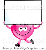 Illustration of a Pink Heart Carrying a Blank Sign by Prawny