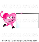 Illustration of a Pink Heart Waving by a Blank Sign by Prawny
