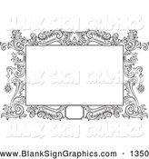 Illustration of a Pretty Black and White Floral Scroll Frame Around a Blank Text Box by Pauloribau