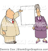 Illustration of a Professional Business Couple Presenting a Blank Sign by Djart