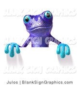 Illustration of a Purple Frog Holding a Blank Sign by Julos