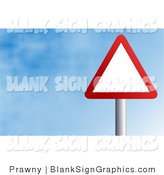 Illustration of a Red and White Triangle Sign Against a Blue Sky with Clouds by Prawny