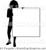 Illustration of a Silhouetted Lady Holding a Blank Sign by KJ Pargeter