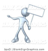 Illustration of a Silver Person Holding a Blank Sign by 3poD