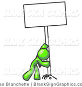 Illustration of a Strong Lime Green Man Pushing up Blank Sign by Leo Blanchette