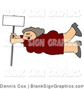 Illustration of a Woman Holding onto a Blank Sign Pole in Strong Winds by Djart