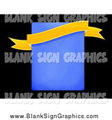 Illustration of a Yellow Banner over a Blue Rectangle and Black by Oboy