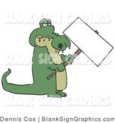 Illustration of an Alligator Holding a Blank Sign by Djart