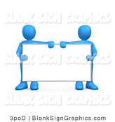 Illustration of Blue Men Holding a Blank Sign by 3poD