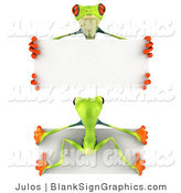 Illustration of Front and Back Views of a Green Poison Dart Frog Holding a Blank White Sign by Julos