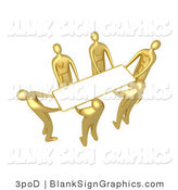 Illustration of Gold People Lifting a Blank Sign by 3poD
