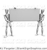Illustration of Mannequins Holding a Blank Sign by KJ Pargeter