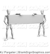 Illustration of Mannequins Holding up a Blank Rectangular Sign by KJ Pargeter