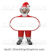 Illustration of Santa Claus Carrying a Blank Oval Sign by 3poD