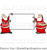Illustration of Santas Holding a Blank Sign by Djart