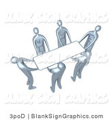Illustration of Silver People Lifting a Blank White Sign by 3poD