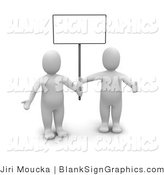 Illustration of Two 3d Blanco Guys Holding up a Sign by Jiri Moucka