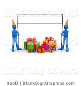 Illustration of Two 3d Blue Birthday Party People with a Blank Banner Sign by 3poD
