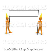 Illustration of Two 3d Orange Birthday Party People with a Blank Banner Sign by 3poD