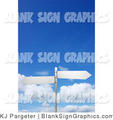 Illustration of Two Blank Arrow Street Signs on a Post by KJ Pargeter