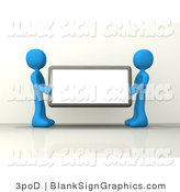 Illustration of Two Blue People Holding a Blank Sign by 3poD