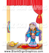 November 2nd, 2014: Vector Cartoon Illustration of a Belly Dancer Blank Sign by Visekart
