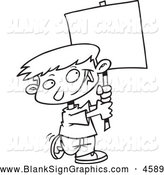 Vector Cartoon Illustration of a Black and White Happy Boy Advertising with a Blank Sign by Toonaday