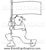 December 23rd, 2014: Vector Cartoon Illustration of a Black and White Man Shouting and Carrying a Flag by Djart