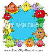 Vector Cartoon Illustration of a Blank Blue Sign of Happy Fruit Around Blue by Visekart