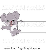 December 17th, 2014: Vector Cartoon Illustration of a Blank Sign and Presenting Koala by Yayayoyo