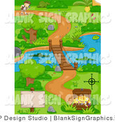 Vector Cartoon Illustration of a Blank Sign by a Treasure Chest with a Boy Following a Path near a Swamp and Foot Bridge by BNP Design Studio