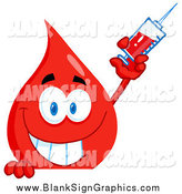 Vector Cartoon Illustration of a Blood Drop Holding a Syringe over a Blank Sign by Hit Toon