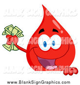 Vector Cartoon Illustration of a Blood Drop Waving Cash over a Blank Sign by Hit Toon