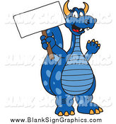 Vector Cartoon Illustration of a Blue Dragon Holding a Blank Sign by Toons4Biz