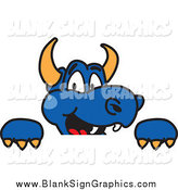 Vector Cartoon Illustration of a Blue Dragon Looking over a Sign by Toons4Biz