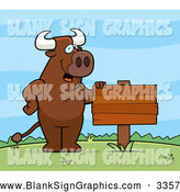 Vector Cartoon Illustration of a Bull Standing Upright by a Blank Sign Outdoors by Cory Thoman