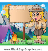 Vector Cartoon Illustration of a Camping Blond White Scout Girl with a Blank Sign by Visekart