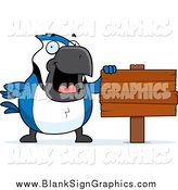 Vector Cartoon Illustration of a Chubby Blue Jay by a Blank Wood Sign by Cory Thoman