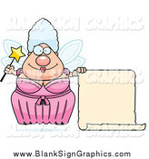 Vector Cartoon Illustration of a Chubby Fairy Godmother with a Blank Scroll by Cory Thoman