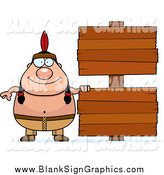 Vector Cartoon Illustration of a Chubby Native American Man with Black Wooden Signs by Cory Thoman